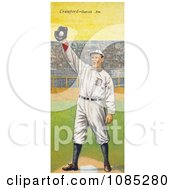 Vintage Baseball Card Of Sam Crawford Holding A Baseball In A Glove Over A Base Royalty Free Stock Illustration