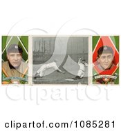 Stock Illustration Of A Vintage Baseball Card Of Charley OLeary And Ty Cobb With A Center Photo 1912 Royalty Free Stock Illustration