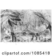 Landing Of The Pilgrims At Plymouth Black And White Version Free Historical Stock Illustration
