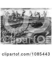 Native American Indians Killing Alligators Free Historical Stock Illustration