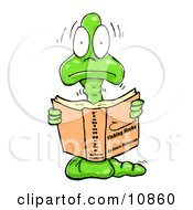 A Scared Young Shaking Male Bookworm Reading A Book About Fishing Hooks Clipart Illustration