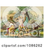 Daniel Boone Protecting His Family Free Historical Stock Illustration