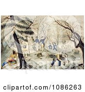 Landing Of The Pilgrims At Plymouth Color Version Free Historical Stock Illustration by JVPD