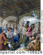 The Indians Giving A Talk To Colonel Bouquet Free Historical Stock Illustration