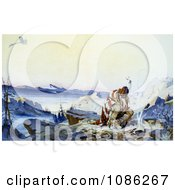 Native American Man In The Cold By A Fire Watching A Plane Fly Above