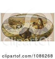 Native Americans Hunting Bison Free Historical Stock Illustration by JVPD