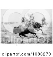 Native American Hunting Bison Free Historical Stock Illustration