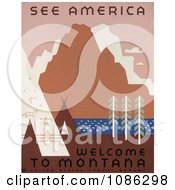 Native American Tipis And Rock Art By A River And Mountains In Montana Free Historical Stock Illustration