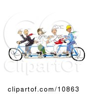 A Male Lawyer Female Doctor Male Chef And Male Contractor All Pedaling A Tandem Bicycle