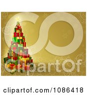 Clipart 3d Gift Tower Christmas Tree Over Gold With Snowflakes And Swirls Royalty Free Vector Illustration