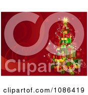 Clipart 3d Gift Tower Christmas Tree On Red With Swirls Royalty Free Vector Illustration