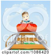 Clipart Terrified Boy Screaming On A Roller Coaster As It Heads Down Royalty Free Vector Illustration by AtStockIllustration