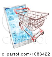 Clipart 3d Shopping Cart Emerging From A Touch Phone Royalty Free Vector Illustration