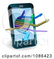 Clipart 3d Smart Cell Phone With Arrows Emerging Royalty Free Vector Illustration