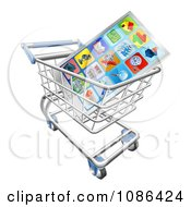 Clipart 3d Smart Phone And Apps In A Shopping Cart Royalty Free Vector Illustration