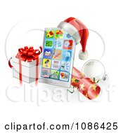 Clipart 3d Santa Hat On A Touch Phone With A Bauble Cracker And Christmas Gift Royalty Free Vector Illustration