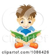 Clipart Excited Caucasian Boy Reading A Book On The Floor Royalty Free Vector Illustration