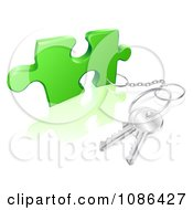 Clipart 3d Key Ring Attached To A Puzzle Piece Royalty Free Vector Illustration