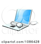 Clipart 3d Stethoscope Resting On A Laptop Computer Royalty Free Vector Illustration