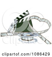 Clipart 3d Strip Of Movie Film In A Heart With A Clapper And Reels Royalty Free Vector Illustration by AtStockIllustration
