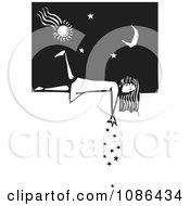Clipart Girl Laying On A Wall And Dropping Stars Black And White Woodcut Royalty Free Vector Illustration