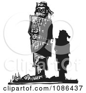 Clipart Silhouetted Man Standing By A Bound Up Statue Royalty Free Vector Illustration by xunantunich