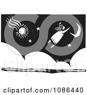Clipart Girl Dreaming Of Flying Through A Night Sky Black And White Woodcut Royalty Free Vector Illustration by xunantunich