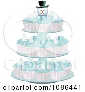 Clipart 3d Christmas Cupcakes With Blue Icing On A Snowman Stand Royalty Free Vector Illustration