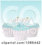 Clipart 3d Christmas Cupcakes With Blue Icing Royalty Free Vector Illustration by elaineitalia