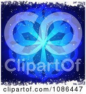 Glowing Blue Snowflake And Flare Background With Snow Grunge