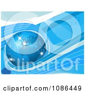 3d Blue Mosaic Disco Globe On Grunge With Waves