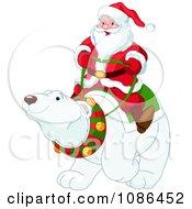 Clipart Santa Riding On A Friendly Christmas Polar Bear Royalty Free Vector Illustration