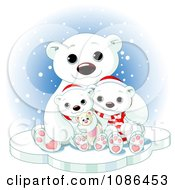 Cute Christmas Polar Bear Family Cuddling In The Snow