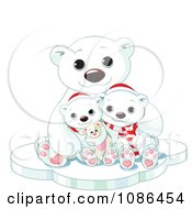 Cute Christmas Polar Bear Family Huddled