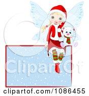 Clipart Christmas Fairy Sitting With A Polar Bear On A Snowy Sign Royalty Free Vector Illustration