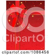 Clipart Red Sparkly Christmas Gift Bow And Ribbon Background Royalty Free Vector Illustration