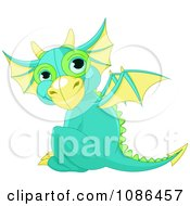 Clipart Cute Baby Green Dragon Sitting And Looking Back Royalty Free Vector Illustration by Pushkin