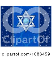 Clipart Blue Festival Of Lights And Star Of David Hanukkah Background Royalty Free Vector Illustration by Pushkin