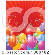 Clipart Party Balloon Background With Confetti And Red Rays Royalty Free Vector Illustration