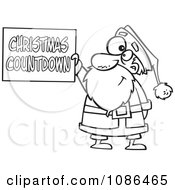 Outlined Santa Holding A Christmas Countdown Sign