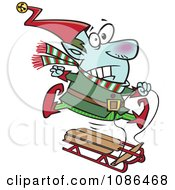 Clipart Christmas Elf Losing Control Of A Sled Royalty Free Vector Illustration by toonaday