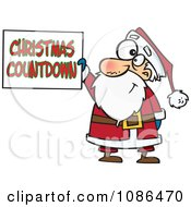 Clipart Santa Claus Holding A Christmas Countdown Sign Royalty Free Vector Illustration