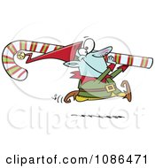 Clipart Christmas Elf Carrying A Candy Cane Royalty Free Vector Illustration