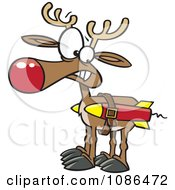 Clipart Christmas Reindeer With Strapped Rockets Royalty Free Vector Illustration