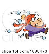 Clipart Outnumbered Boy Running From Snowballs Royalty Free Vector Illustration by Ron Leishman