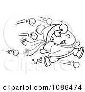Clipart Outlined Outnumbered Boy Running From Snowballs Royalty Free Vector Illustration by toonaday