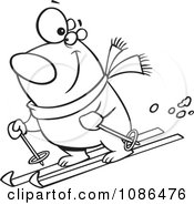 Outlined Skiing Polar Bear