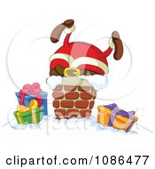 Clipart Santa Stuck In A Chimney On Christmas Eve Royalty Free Vector Illustration by yayayoyo