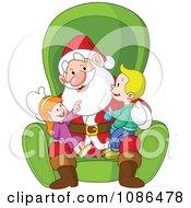 Boy And Girl Sitting On Santas Lap