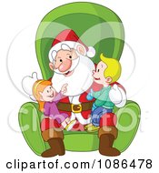 Clipart Boy And Girl Sitting On Santas Lap Royalty Free Vector Illustration
